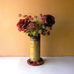 tall red & yellow industrial flower vase from salvaged pipe parts