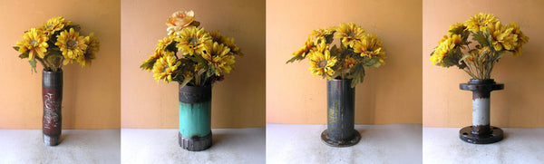 industrial metal flower vases