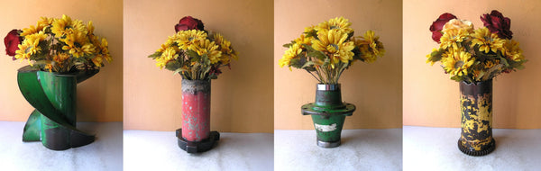 industrial vases made from salvaged steel