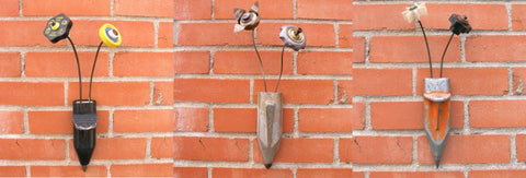 metal wall pocket flower vases