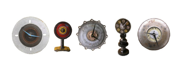 new industrial clocks in my shop, all made from salvaged steel junk metal and found objects