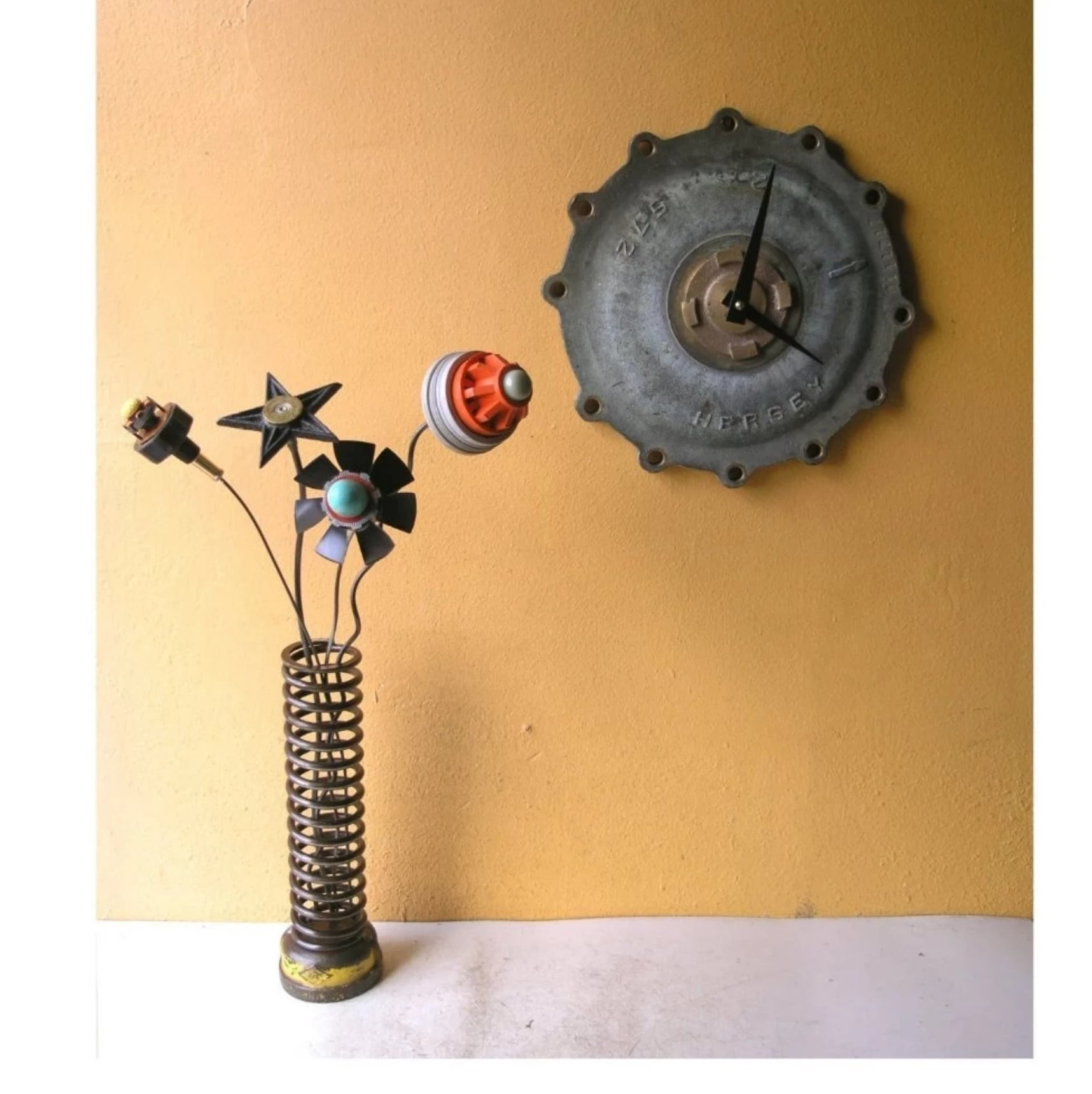 "10"" Industrial yellow & brown metal vase for desktop, table or shelf, upcycled coil and found metal base - PaulaArt"