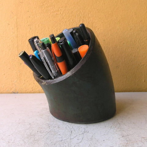 Green pencil holder upcycled metal pipe  - PaulaArt