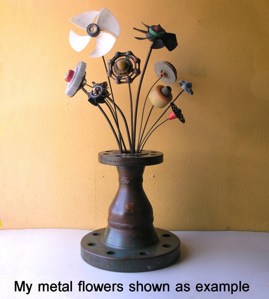 Large industrial table vase, salvaged steel flower holder for home or office entryway - PaulaArt
