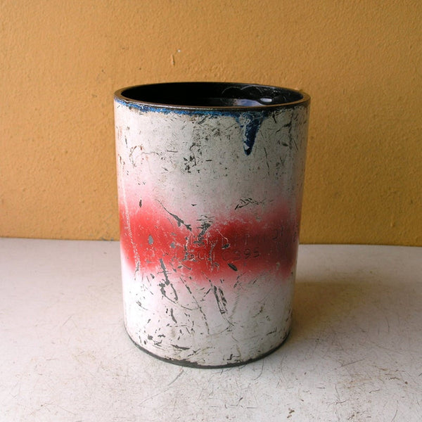 Kitchen utensil holder, red white metal organizer