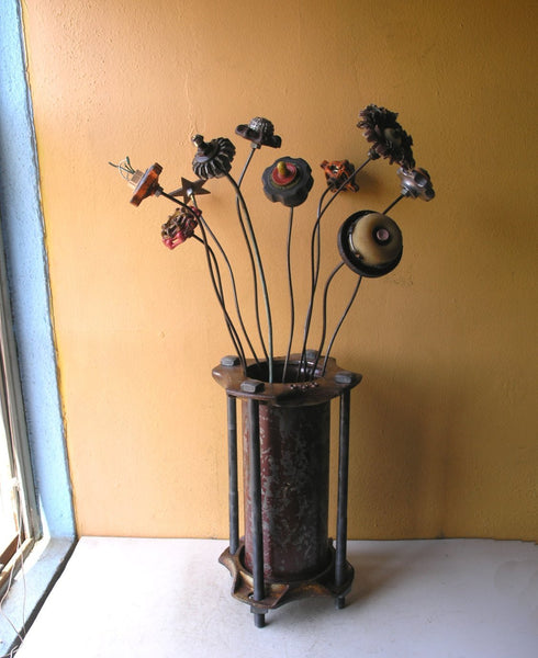 Unique industrial flower vase for home office entryway 14' tall - PaulaArt