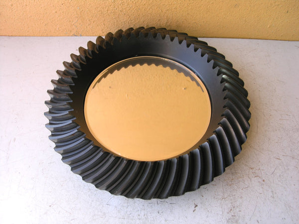 Industrial beveled gear salvaged steel wall mirror - PaulaArt