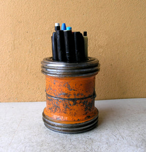 industrial orange pencil holder