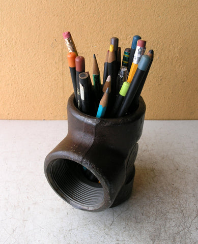 salvaged pipe pencil holder