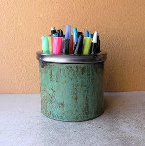 upcycled green pipe pencil holder