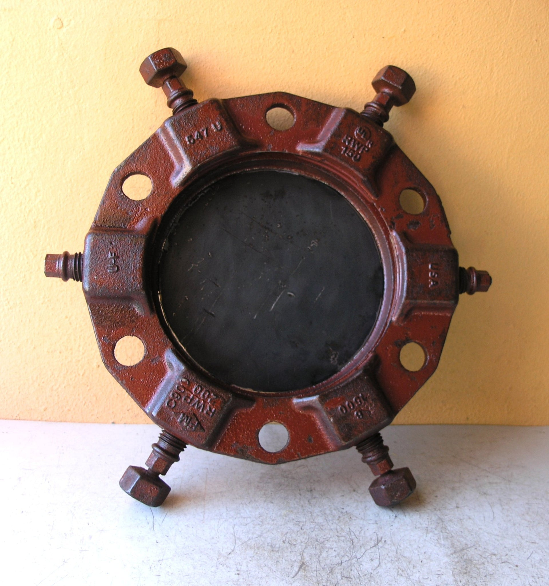 Industrial catchall tray, salvaged steel