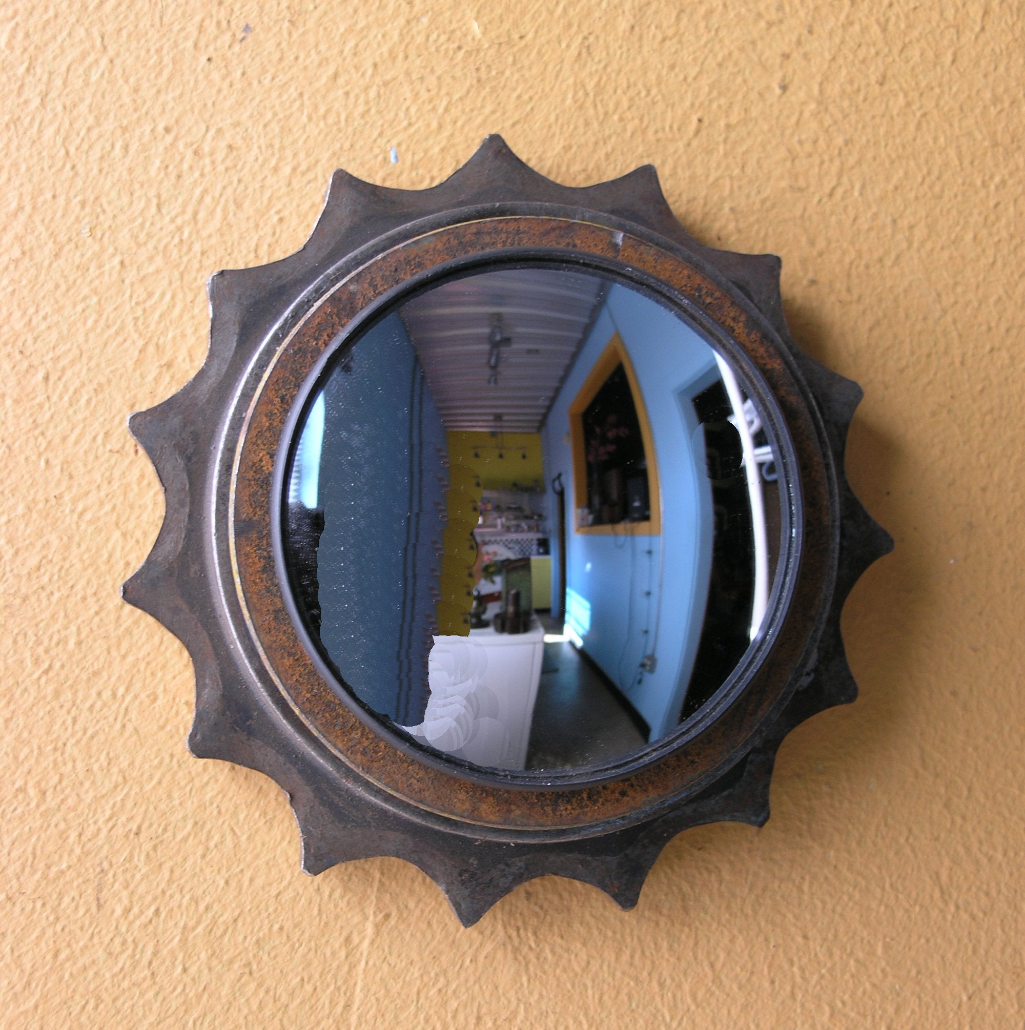 industrial mirror for wall, salvaged gear