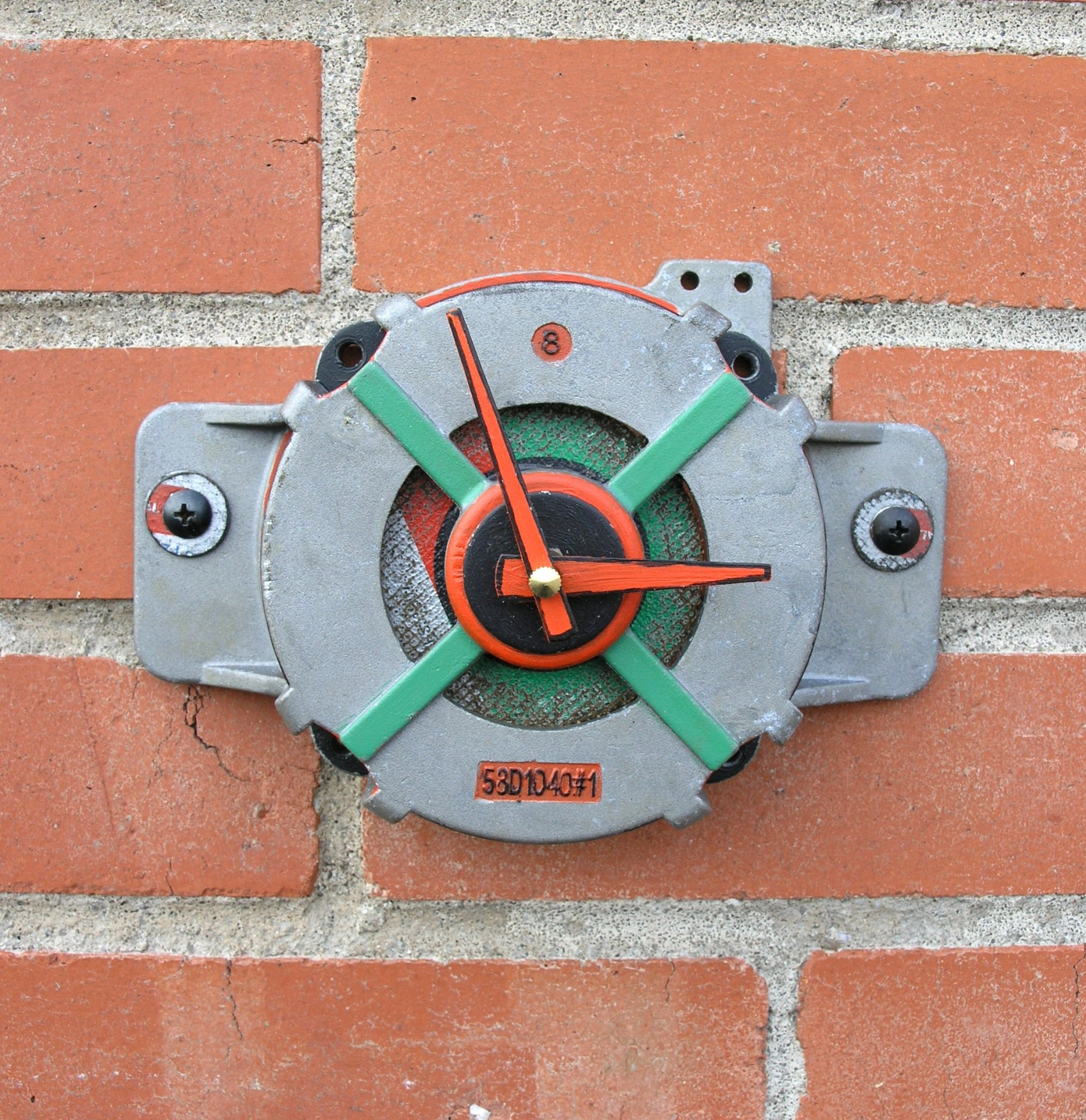 recycled metal, colorful wall clock