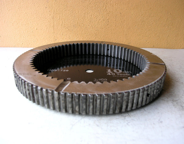 Industrial catchall tray, salvaged steel gear and saw blade