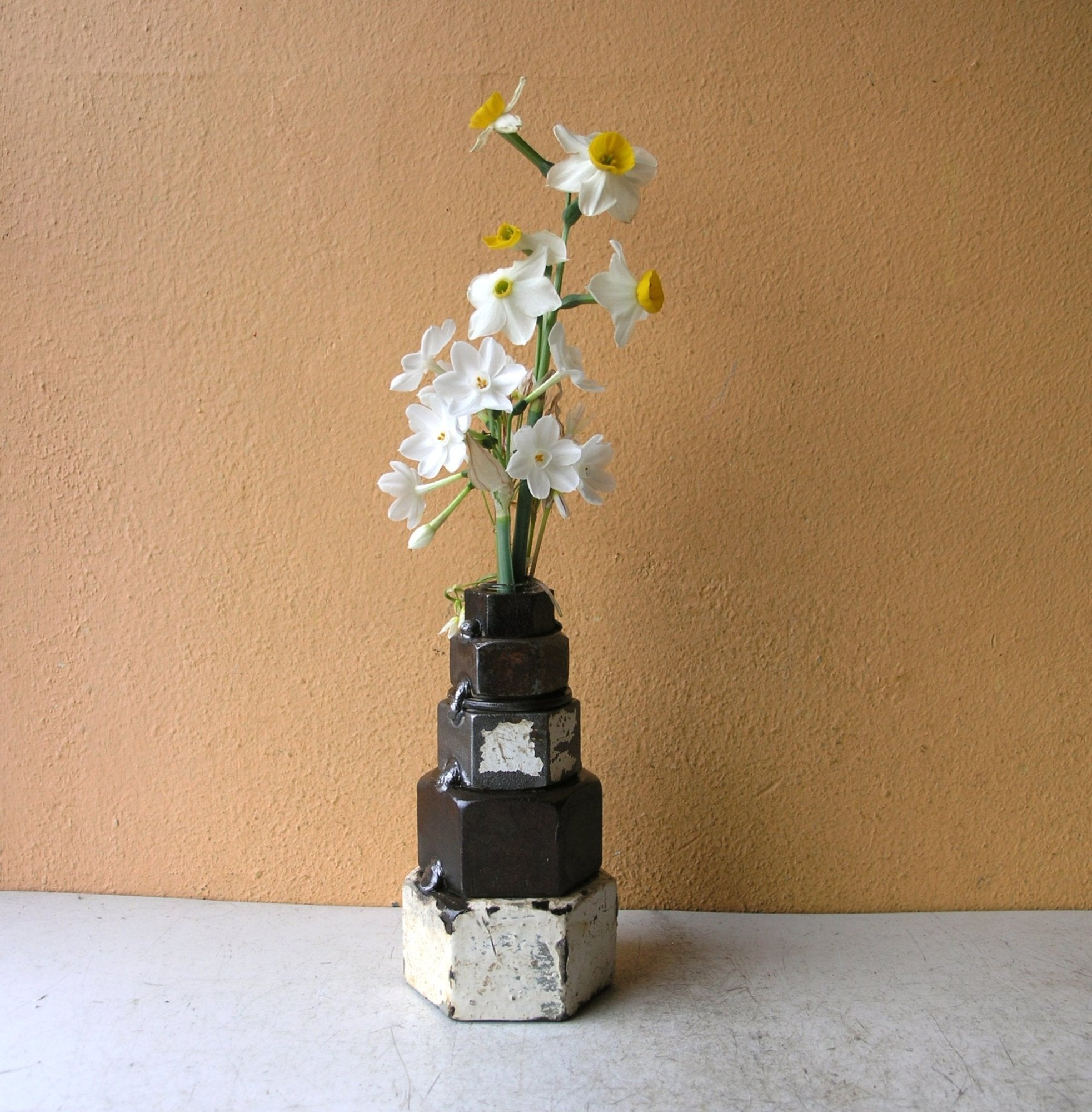 Industrial bud vase, salvaged steel recycled nuts