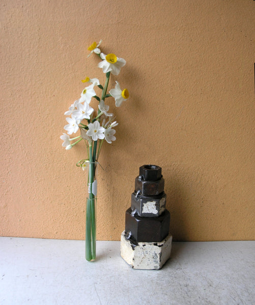industrial vase with free glass tube