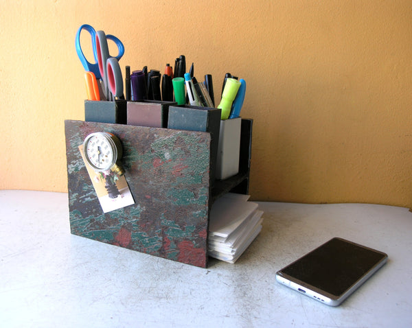 salvaged I-beam desk organizer