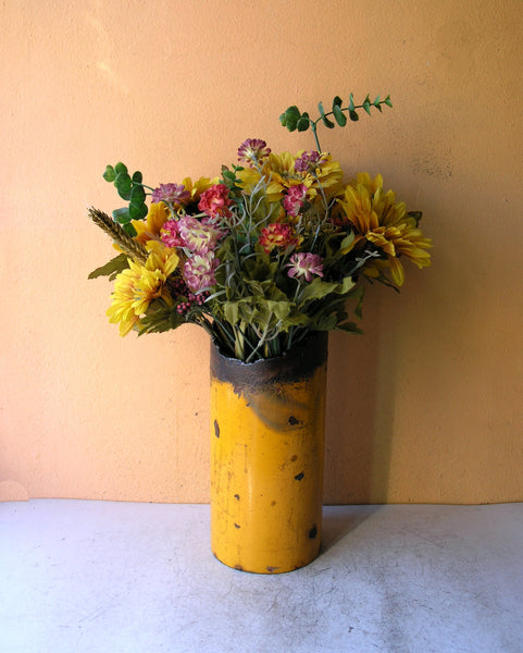 upcycled yellow pipe table vase