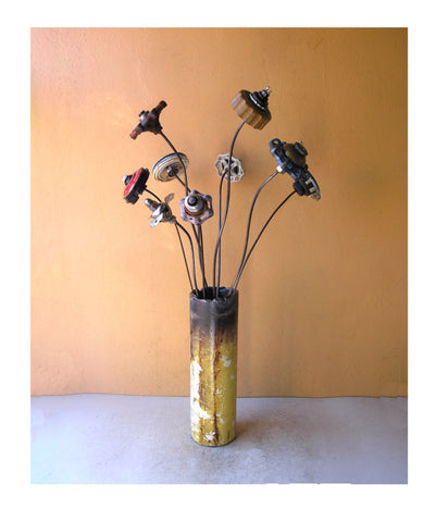 tall industrial flower vase