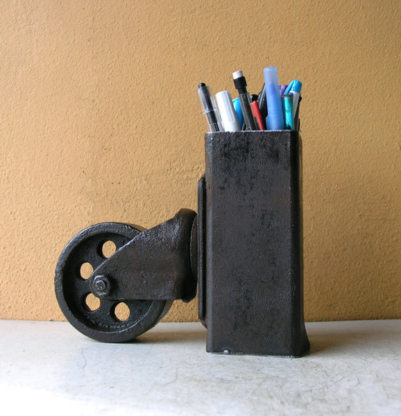 vintage caster wheel pencil holder