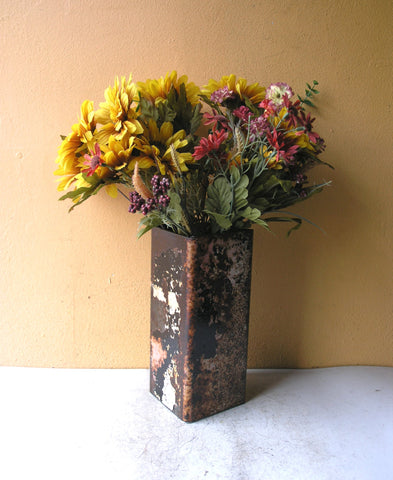 modern industrial square vase from recycled metal
