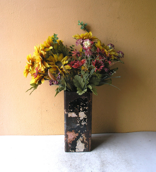 tall brown square metal flower vase