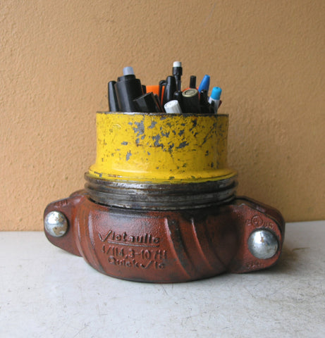 yellow & terra cotta industrial pencil holder