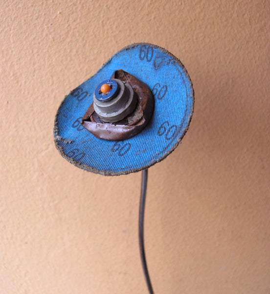 sanding disc upcycled blue flower