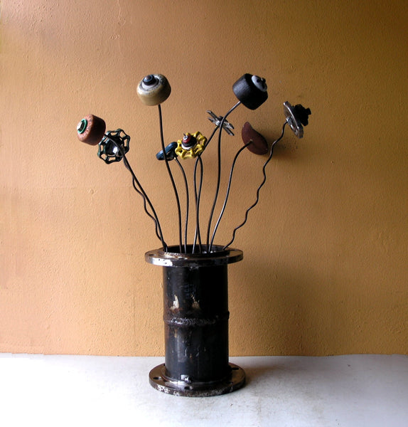 Upcycled skateboard wheel flowers, set of 3 garden stakes, kids room decor