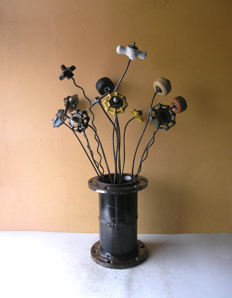 group of upcycled flowers