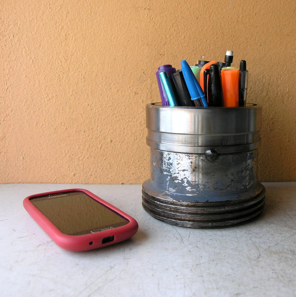 industrial iron pencil holder