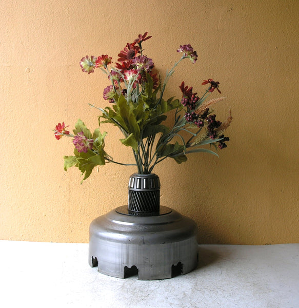 steampunk flower vase recycled upcycled