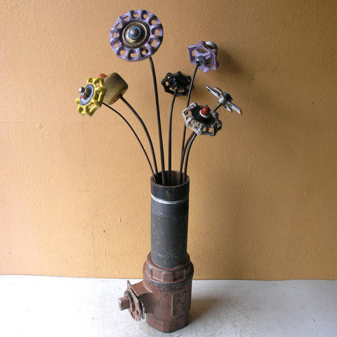 industrial flower vase shown with my metal flwoers as example