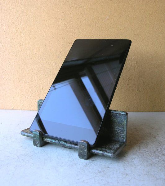 tablet stand from recycled metal