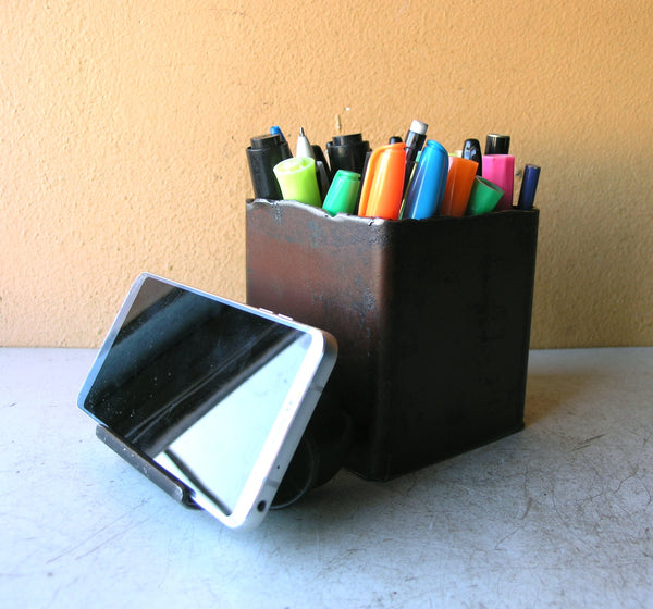 metal pencil box with phone stand