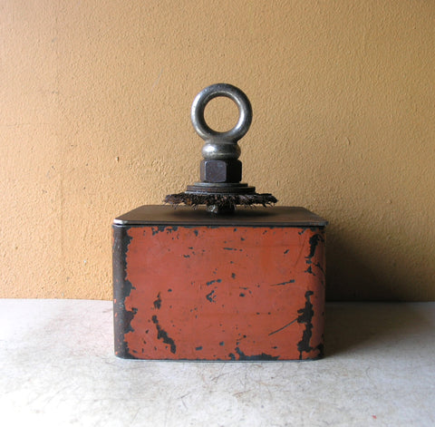 orange keepsake box from junk metal