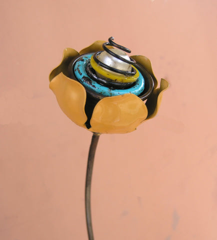 upcycled yellow metal flower