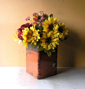 large orange square flower vase