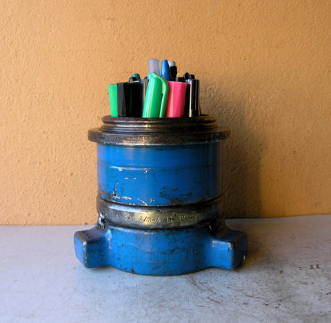Blue metal pencil holder