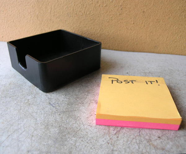 upcycled metal sticky notepad holder