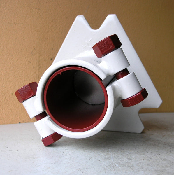 Red & white industrial metal pencil holder, home office organizer