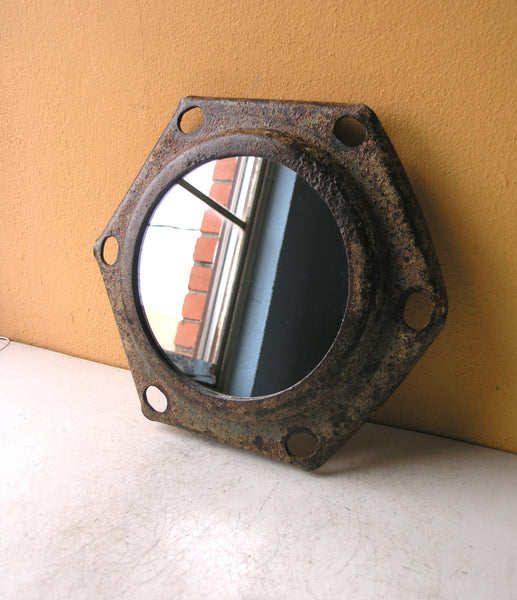 Upcycled salvaged hexagonal wall mirror, industrial home or office decor - PaulaArt