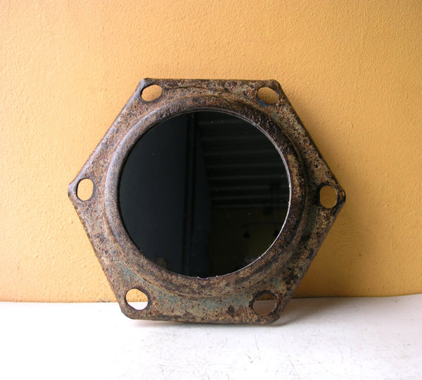 Hexagonal wall mirror, industrial home or office decor
