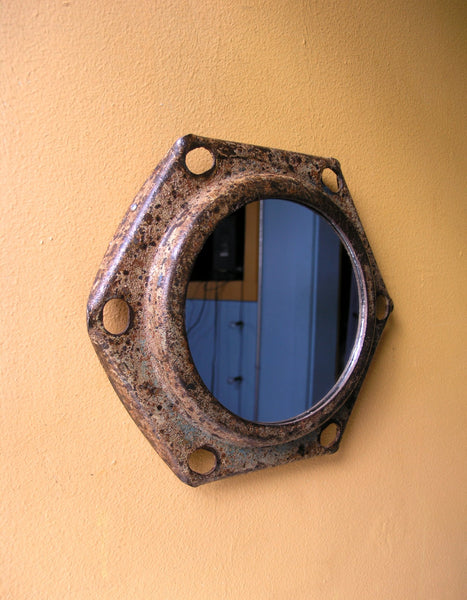 side view upcycled wall mirror