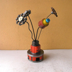 orange mini flower vase for home or office made from salvaged ridgid tool