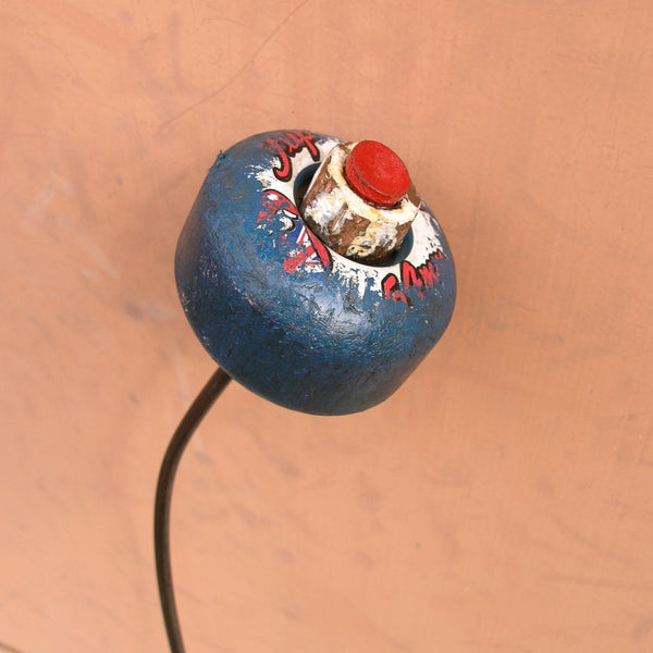"19"" red white blue upcycled skateboard wheel flower, indoor outdoor plant stake - PaulaArt"