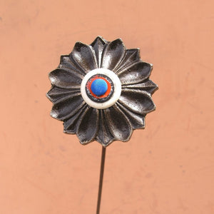 "23"" tall blue orange white bronze metal flower industrial lobby decor office art indoor vase filler upcycled junk art - PaulaArt"