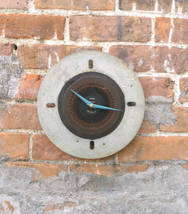 Upcycled gray& black wall clock, industrial home & office decor - PaulaArt