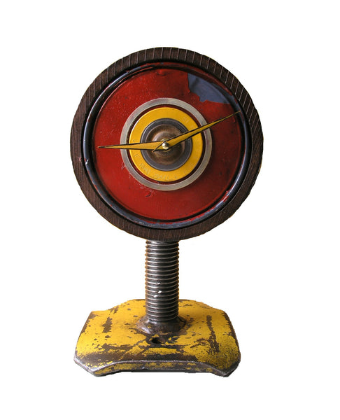 Handcrafted industrial salvaged steel red yellow brown swivel table clock - PaulaArt