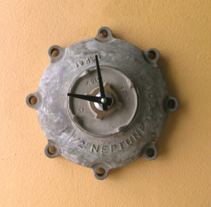 Neptune brass wall clock, recycled industrial gift